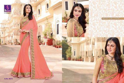 Pink Colour Designer Cotton Silk Saree
