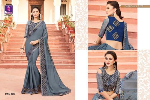 Koti Style Blouse Cotton Silk Saree