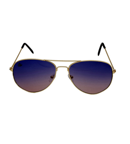 mens blue & gold avaitor sunglasses