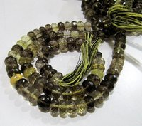 Natural Bio Lemon Quartz Rondelle Faceted Beads,