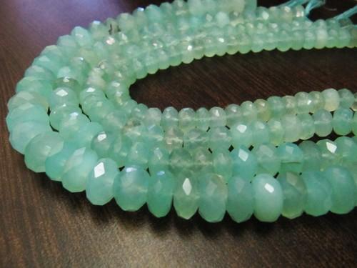 Natural Aqua Blue Chalcedony Far Size Beads,