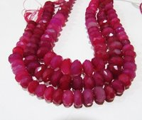 Natural Chalcedony Hot Pink Color Rondelle Faceted Beads