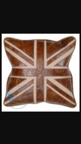 Union jack leather cushion