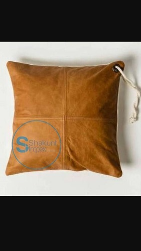 Vintage  Camel brown leather cushion
