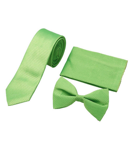 Mens casual green tie & bow