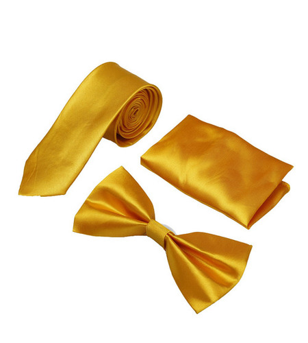 Mens yellow formal Tie & bow