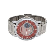 Mens silver & red chain wrist watch