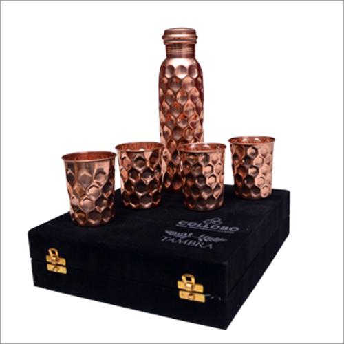 Copper Jug And 4 Glass Set