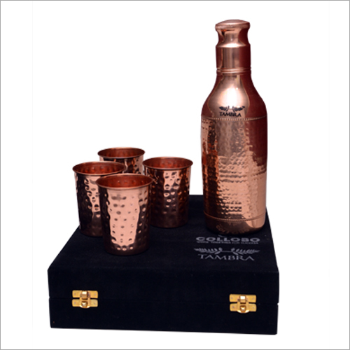 Copper Hammered Jug And Glass Set