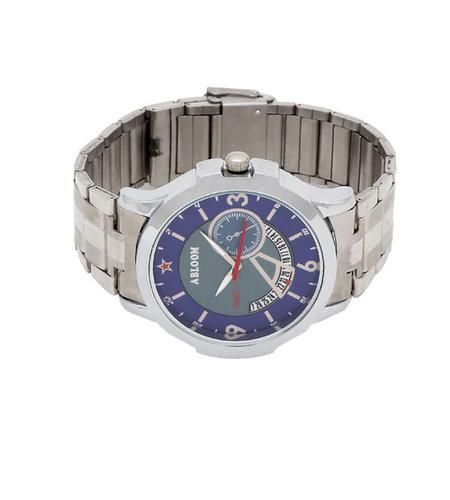 Mens blue & silver chain wrist watch