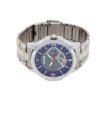 Mens blue & silver chain wrist watch