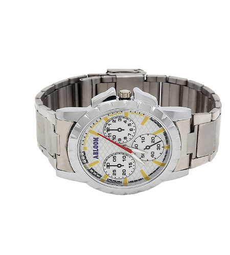 mens silver & white watch