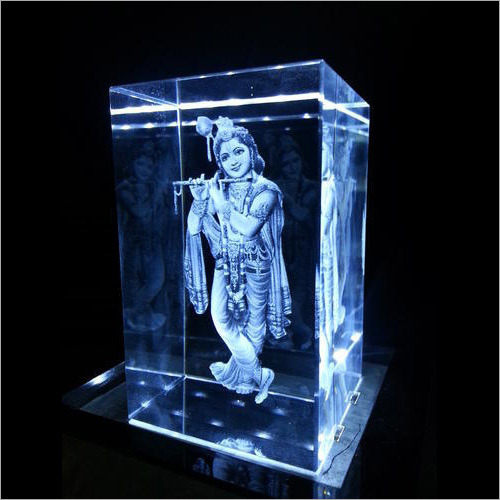 3D Crystal Laser Engraved Krishna
