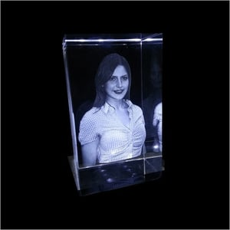 3d Photo Crystal With LED Light Base