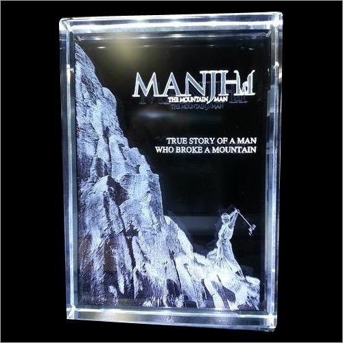 3D Crystal Laser Engraved Manjhi Movie Banner Trophy