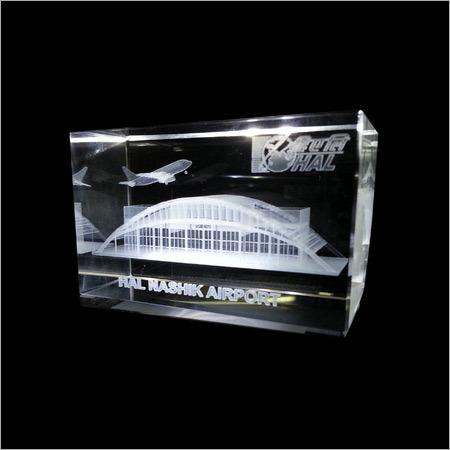 3D Crystal Laser Engraved Nashik Airport