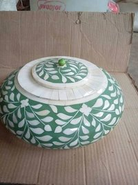 Bone inlay round storage box