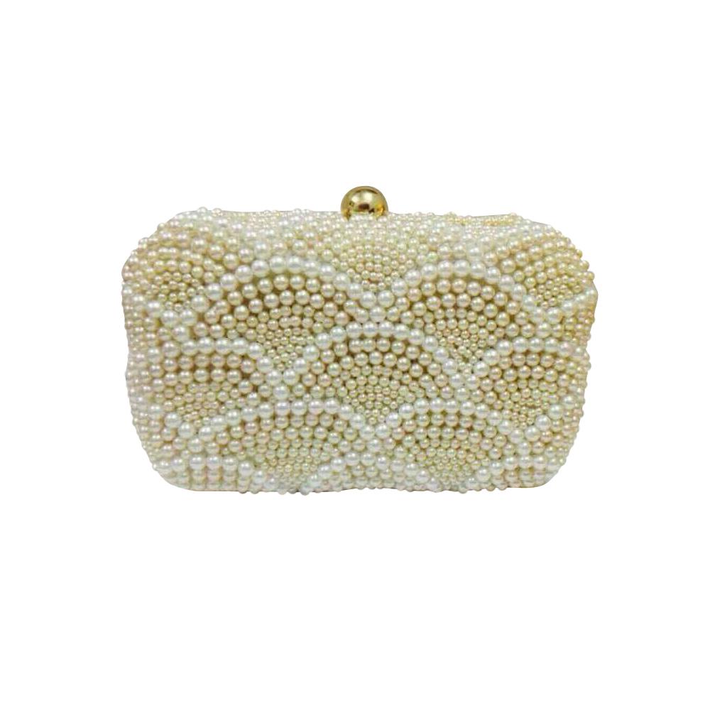 Women's Cream Pearl Clutch