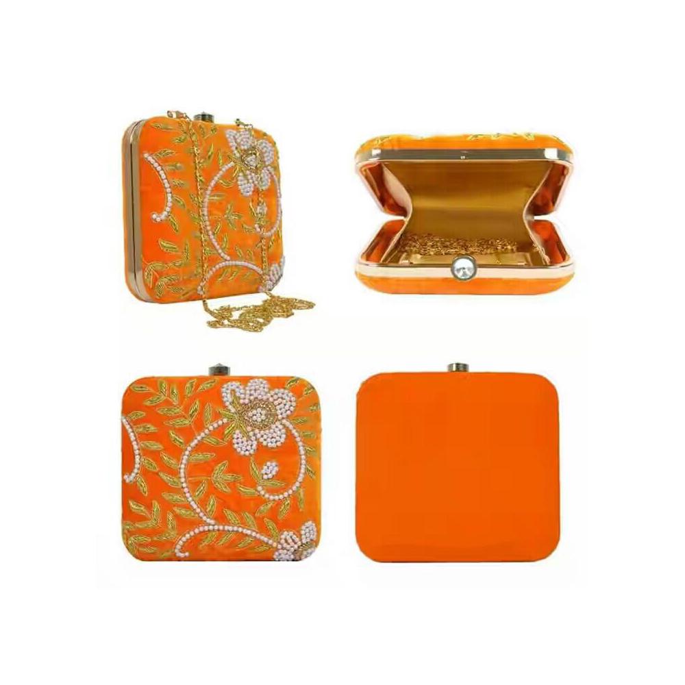Women's Orange Partywear Clutch