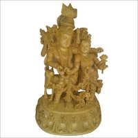 Wooden Krishna Radha Statue