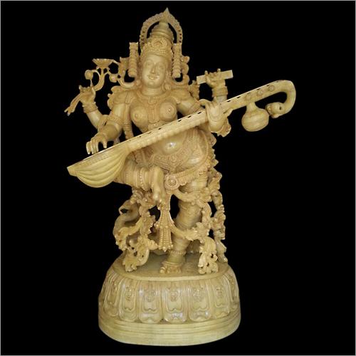 Saraswati Wooden Statue