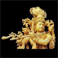 Wooden Lord Krishna Statue