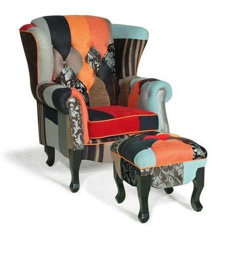 Rolled Arm Denim Patchwork Chair