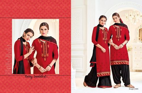 Red & black Patiyala Suit