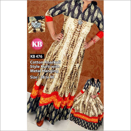 Cotton Anarkali Style Kuryi With Metal Hanging