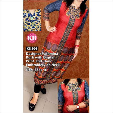 Designer Pashmina Kurti With Digital Print and Hand Embrodered Kurti