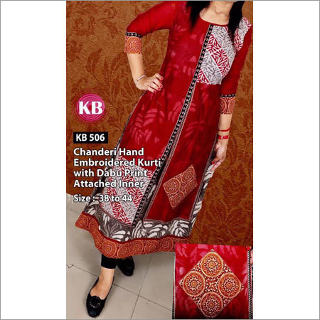 Chanderi Hand Embroidered Kurti