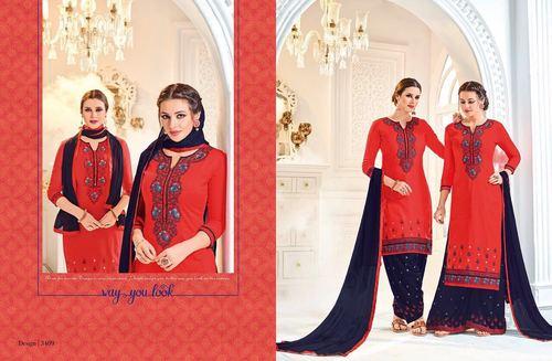 Cotton Satin Patiala Suit Wholesaler In Surat