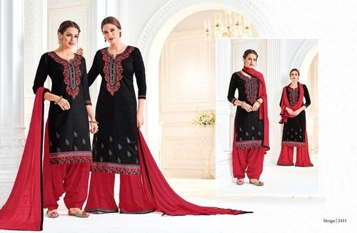 Black & Red Combo Patiyala Suit
