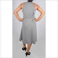 Hdd 715 03 Gather Neck Sleeveless Dress With Belt Back