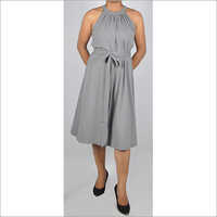 Hdd-715-03-Gather Neck Sleeveless Dress With Belt Front
