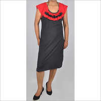 HDD-715-06-knee length tunic dress with designer neck in dual color-front