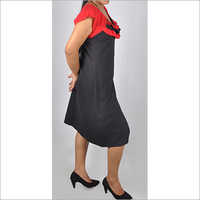 HDD-715-06-knee length tunic dress with designer neck in dual color-side