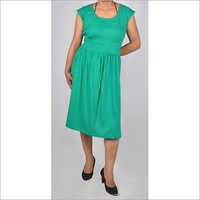 HDD-715-07-knee length tunic dress with waist band-front