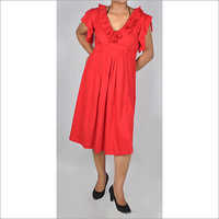 HDD-715-08-frill neck and sleeves knee length tunic dress -front