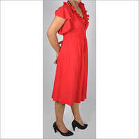 HDD-715-08-frill neck and sleeves knee length tunic dress -side