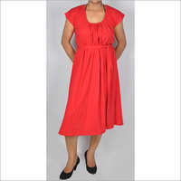 HDD-715-09-cotton lycra tunic dress with belt and U-collar-front