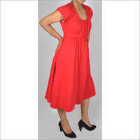 HDD-715-09-cotton lycra tunic dress with belt and U-collar-side