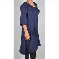 HDD-715-11-asymmetrical dress with designer front pocket-side