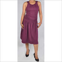 HDD-715-12-formal gather design tunic dress with low back-front