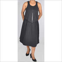 HDD-715-18-two piece sleeveless dress with skirt bottom-front