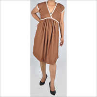 HDD-715-20-V neck dress with lace piping-front