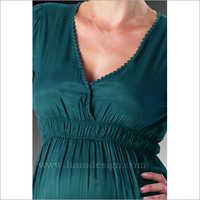 HYMD1635- Knee length lace neck dress