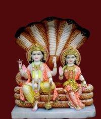Marble Vishnu Laxmi God Statue
