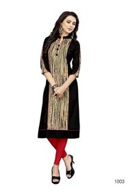 Black Slub Cotton Kurti