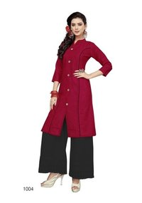 Red Cotton New Kurti